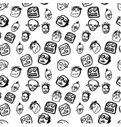 Doodles faces pattern vector