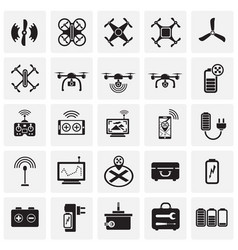 Drone icons set on squares background for graphic vector