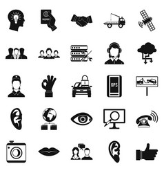 earphones icons set simple style vector image