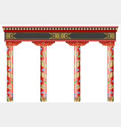 eastern chinese arch carved red gold columns vector image