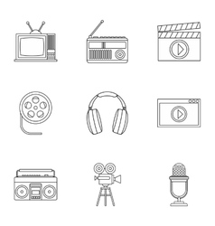 Electronic communication icons set outline style vector image