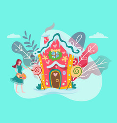 fantastic house in fairy forest fantasy world vector image