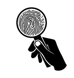fingerprint under loupe vector image