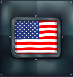 Flag of america on metalic wall vector
