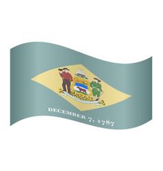 Flag of delaware waving on white background vector