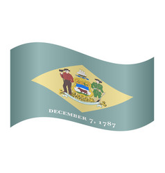 flag of delaware waving on white background vector image