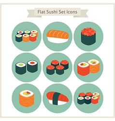 Flat Big Food Sushi Set Circle Icons vector image