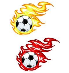 footballs with flames vector image