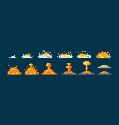 frame animation with effect burning explosion vector image