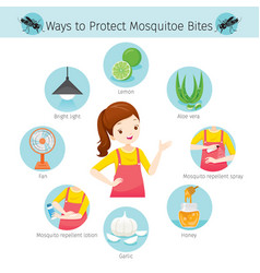 Girl with ways to protect mosquitoes bite icons vector