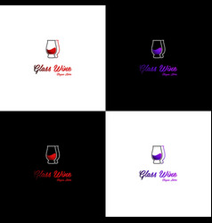 Glass wine drink nightclub creative logo design vector