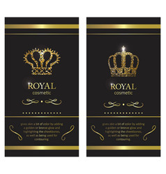Gold crown luxury label emblem or packing logo vector