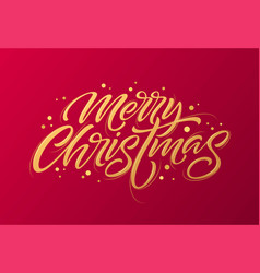 golden text on dark red background merry vector image