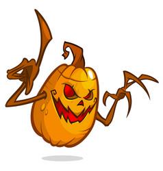 halloween pumpkin with wooden hands vector image
