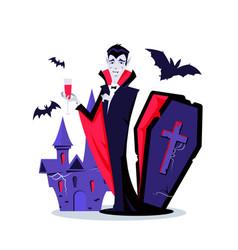 Halloween vampire - modern cartoon style vector