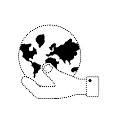 Hand holding a earth planet icon vector