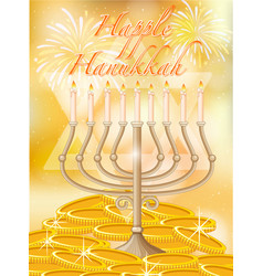 happy hanukkah with candles and gold vector image