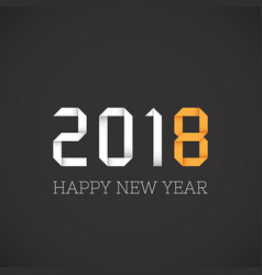 happy new year 2018 greeting origami style vector image