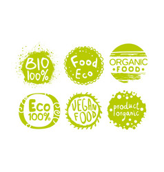 healthy organic natural farm food green labels vector image