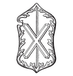 heraldic shield from the abbey church vintage vector image