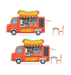 hot dog food truck isolated catering van vector image