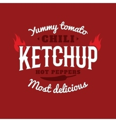 Isolated spicy ketchup logo Natural vector