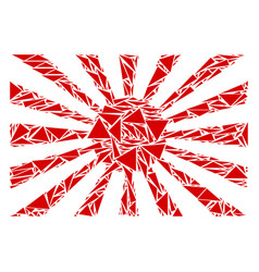 Japanese rising sun mosaic of triangles vector