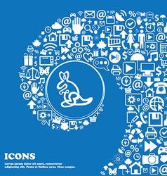 Kangaroo Icon sign Nice set of beautiful icons vector image