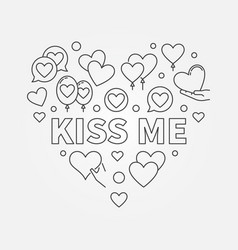 Kiss me heart outline vector