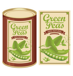 Label for a tin can of canned green peas vector