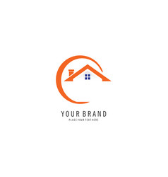 letter c home logo vector image