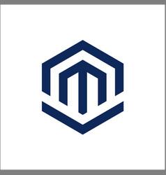 letter m polygon logo design vector image