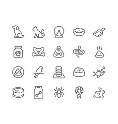 Line pet icons vector