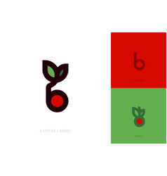 logo or icon of letter b red berry with green leaf vector image