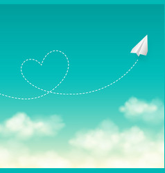 Love travel concept a paper plane flying in the vector