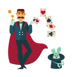 Magician in red cloak with rabbit in tall hat vector