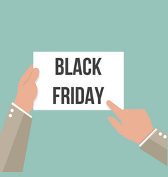 man showing paper black friday text vector image