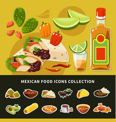 mexican food icons collection vector image
