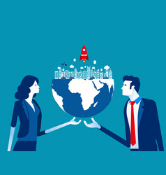 organization holds globe concept business vector image