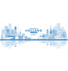 outline welcome to netherlands skyline with blue vector image