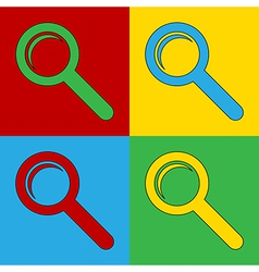Pop art search icons vector