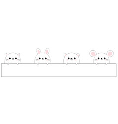 Rabbit hare cat kitten kitty mouse bear face icon vector