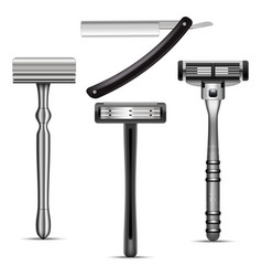 realistic detailed 3d shaving razor mockup set vector image