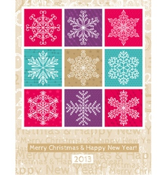 Retro christmas background with snowflakes vector