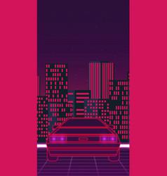 Retro future 80s style sci-fi background vector