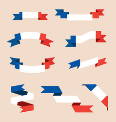 ribbons or banners in colors french flag vector image