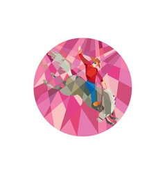 Rodeo Cowboy Riding Bucking Bronco Low Polygon vector image