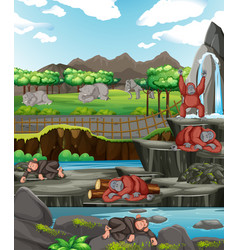 Scene with animals at open zoo vector