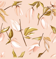 seamless pastel peach floral pattern with foliage vector image