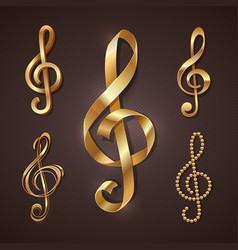 Set golden decorative treble clef vector